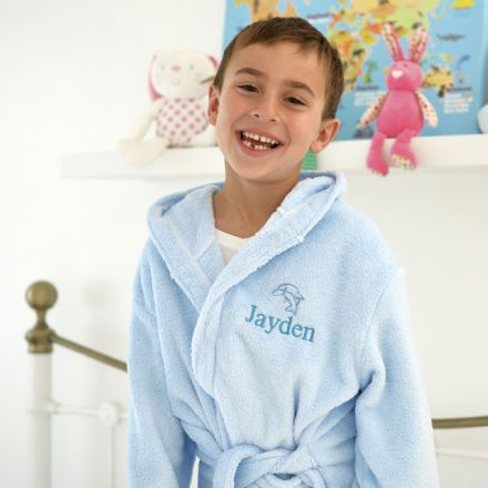 Personalised Child's Dolphin Dressing Gown In Blue